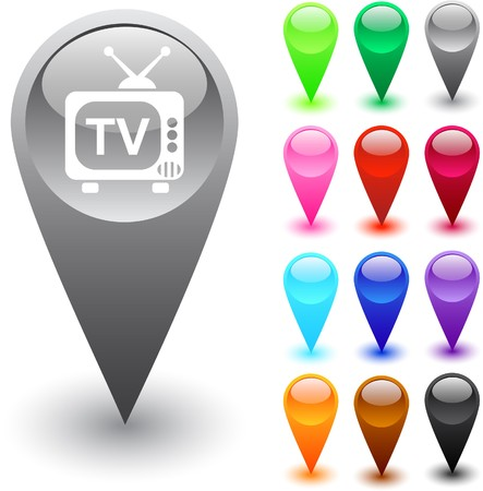 TV glossy web buttons.    Vector