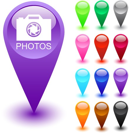 Photos glossy web buttons.   Vector