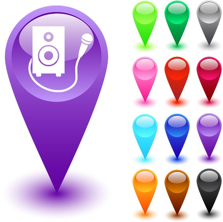 Karaoke glossy web buttons.  Vector