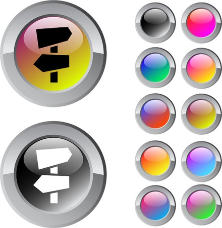 Road arrows multicolor glossy round web buttons.  Vector