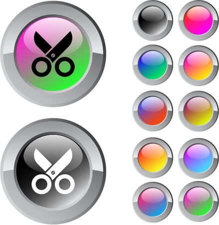 Scissors multicolor glossy round web buttons.   Vector