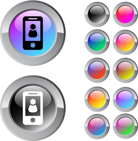 Person multicolor glossy round web buttons.   Vector