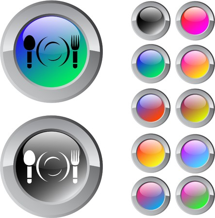 Dinner multicolor glossy round web buttons.   Vector