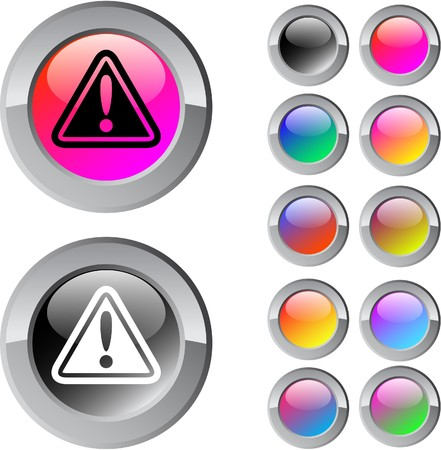 Exclamation sign multicolor glossy round web buttons.   Vector