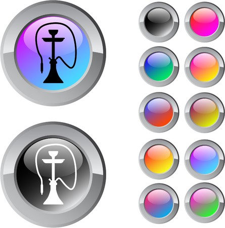 Hookah multicolor glossy round web buttons.   Vector