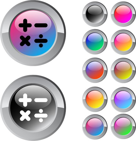 Calculate multicolor glossy round web buttons.  Vector