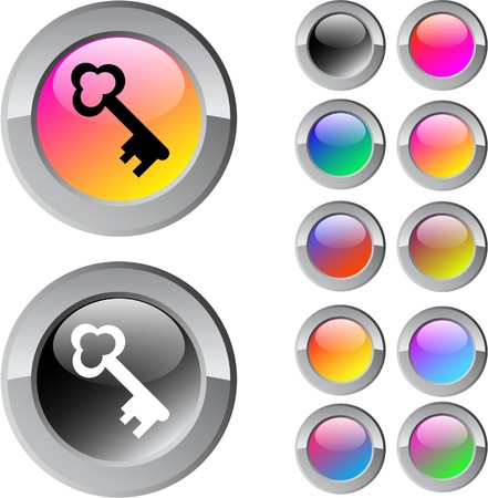 Key multicolor glossy round web buttons.   Vector