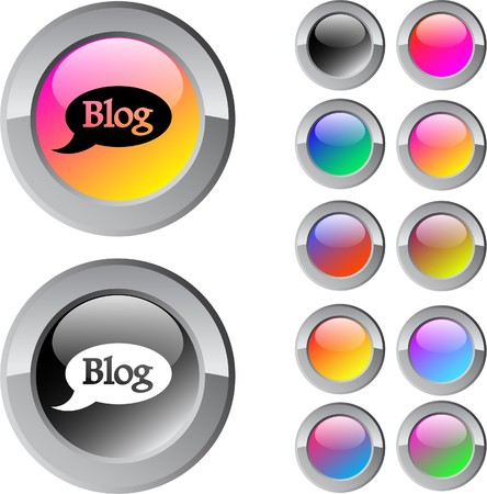 Blog multicolor glossy round web buttons.   Vector