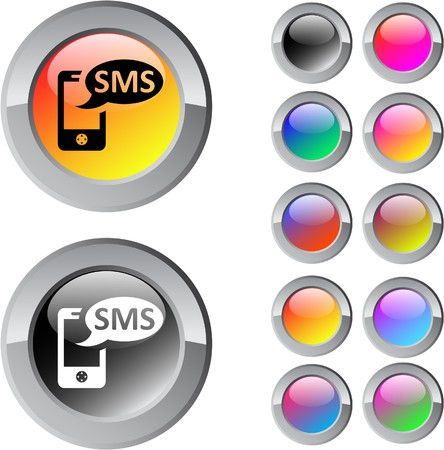 SMS multicolor glossy round web buttons. Stock Vector - 7361613