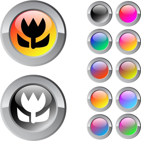 Macro multicolor glossy round web buttons.   Vector
