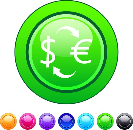 Money exchange glossy circle web buttons.  Vector