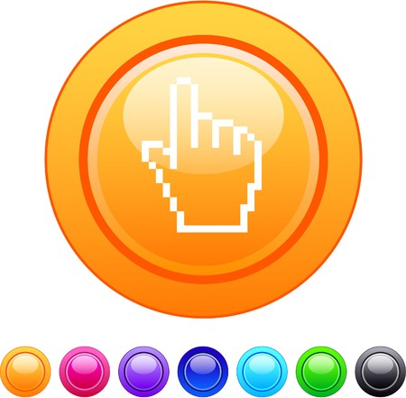 Pixel hand glossy circle web buttons.  Vector