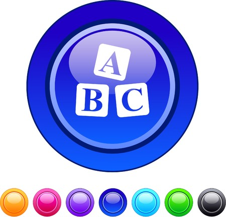 ABC cubes glossy circle web buttons.  Vector