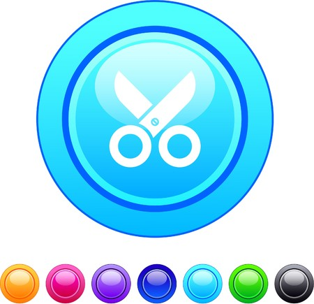 Scissors glossy circle web buttons. Vector