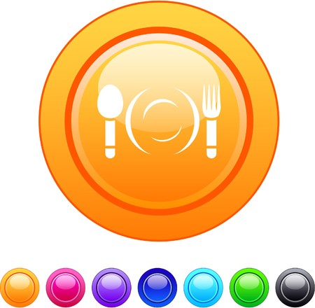Dinner glossy circle web buttons.  Vector