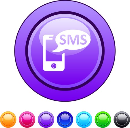 mobile communication: SMS glossy circle web buttons.