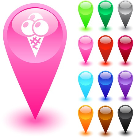 Icecream glossy web buttons.   Vector