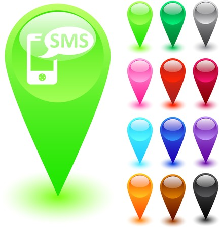 SMS glossy web buttons.  Vector