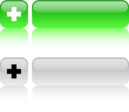 Plus  glossy square web buttons.  Vector