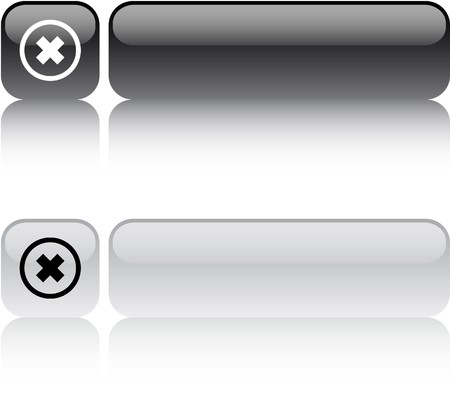 abort: Delete cross glossy square web buttons.