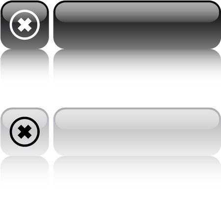 negar: Eliminar botones de Cruz web cuadrados brillante.