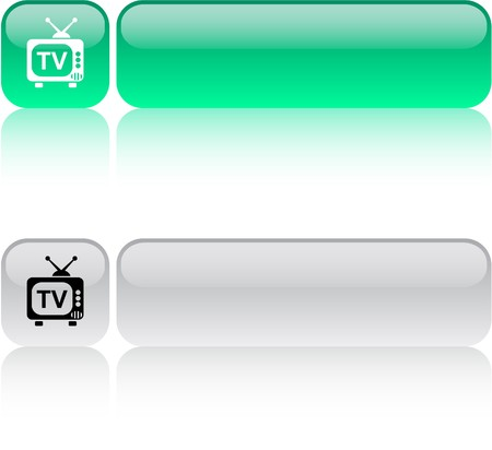TV glossy square web buttons.  Vector