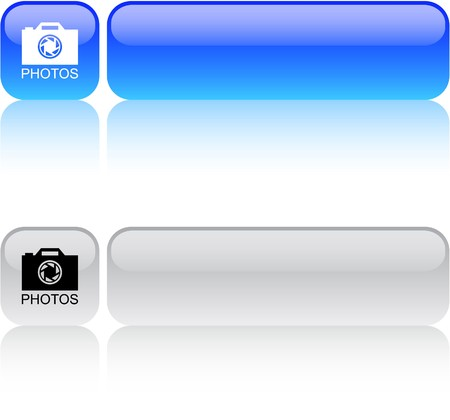 Photos glossy square web buttons.  Vector
