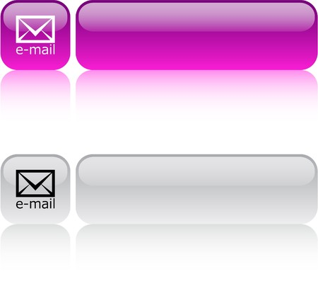 E-mail glossy square web buttons.  Vector