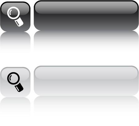 search icon: Zoom knoppen glanzende vierkante web.