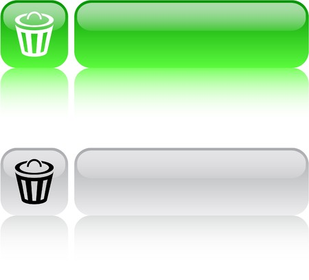 dustbin: Dustbin glossy square web buttons.  Illustration