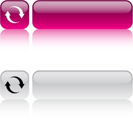 refrescarse: Actualizar los botones web cuadrados brillante.  Vectores