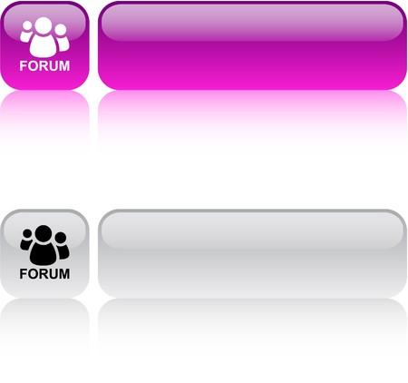 Forum web carré brillant boutons.  Vecteurs
