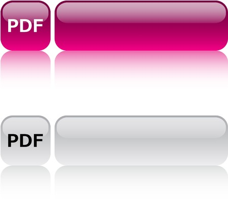 PDF glossy square web buttons. Stock Vector - 7454533