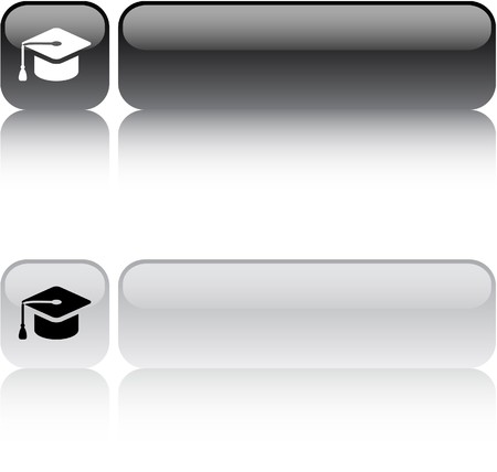 Graduation glossy square web buttons.  Vector