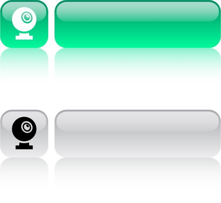 Webcam glossy square web buttons.  Vector