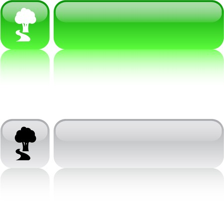 Tree glossy square web buttons.  Vector