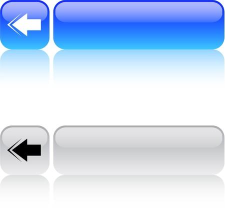 back arrow: Back arrow glossy square web buttons.