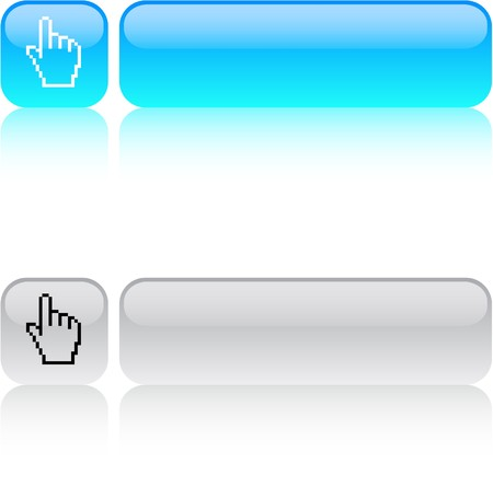 Pixel hand glossy square web buttons.  Vector