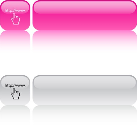 Www click glossy square web buttons.  Vector