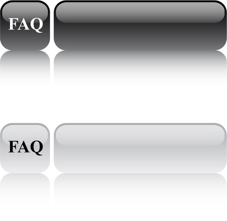 FAQ glossy square web buttons.  Vector