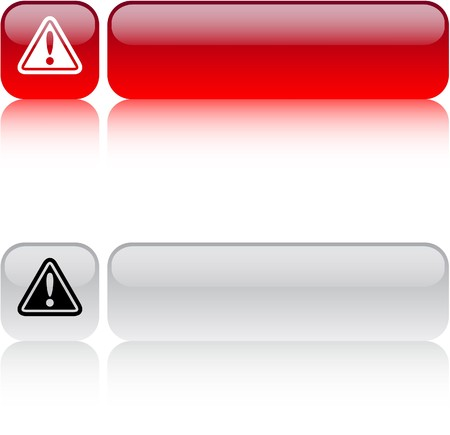 precautions: Exclamation sign glossy square web buttons.  Illustration