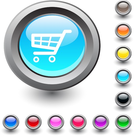 Shopping cart  metallic vibrant round icon.  Vector