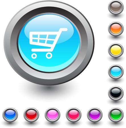 Shopping cart  metallic vibrant round icon. Stock Vector - 7517873