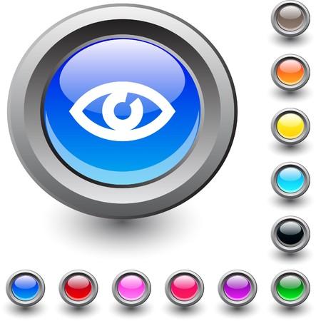 Eye  metallic vibrant round icon. Vector
