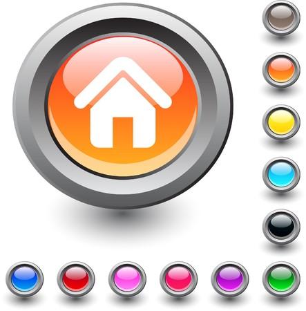 Home  metallic vibrant round icon.   Home  metallic vibrant round icon.   Home  metallic vibrant round icon.  Vector