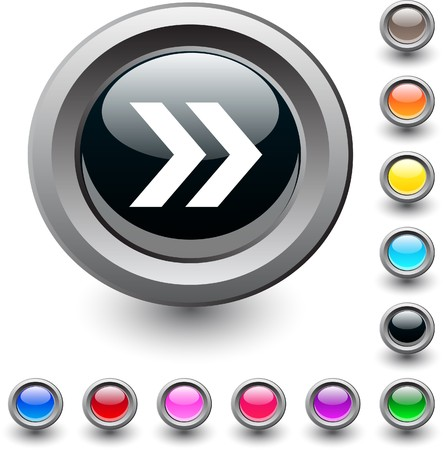 Forward arrow  metallic vibrant round icon. Stock Vector - 7517864