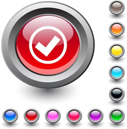 Mark  metallic vibrant round icon.  Vector