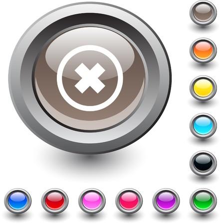 Delete cross metallic vibrant round icon.  Vector