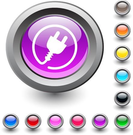 Power plug metallic vibrant round icon.
