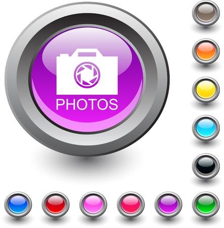Photos m�tallique vibrante ronde ic�ne.  Illustration